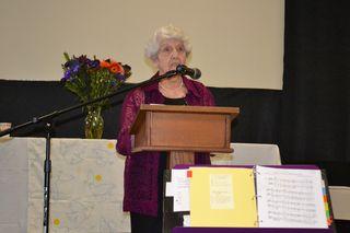Former Mayor Anne Rudin reading Hiroshima Mayor Peace Declaration